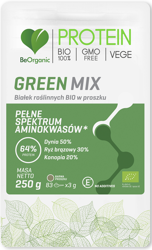 BIAŁKO ROŚLINNE GREEN MIX W PROSZKU BIO 250 g - BE