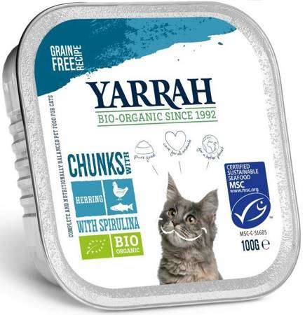 (dla kota) kurczak z kawałkami ryby i spiruliną BIO 100 g