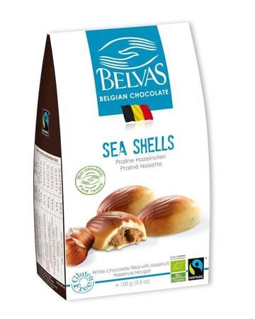 Belgijskie czekoladki białe z nadzieniem orzechowym sea shells fair trade bezglutenowe BIO 100 g