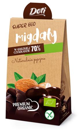 Migdały w czekoladzie gorzkiej bezglutenowe BIO 50 g